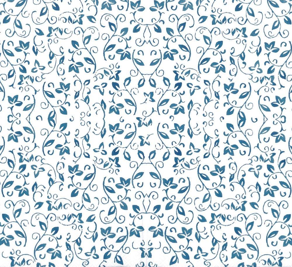 Serviette Papier Arabesque petite fleur bleue