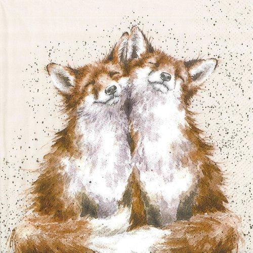 Serviette papier duo de petits renards