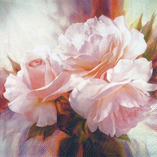 Serviette papier rose romantique