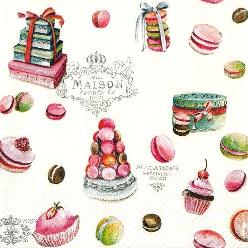 Serviette papier gourmandise macaron