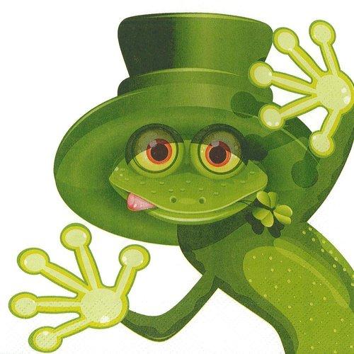 Serviette papier grenouille verte au chapeau