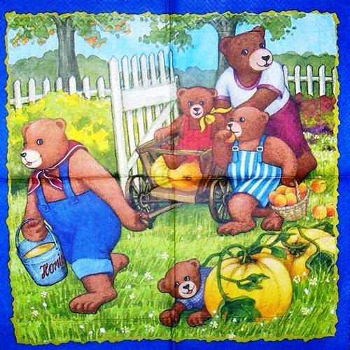 Serviette papier les ours au jardin