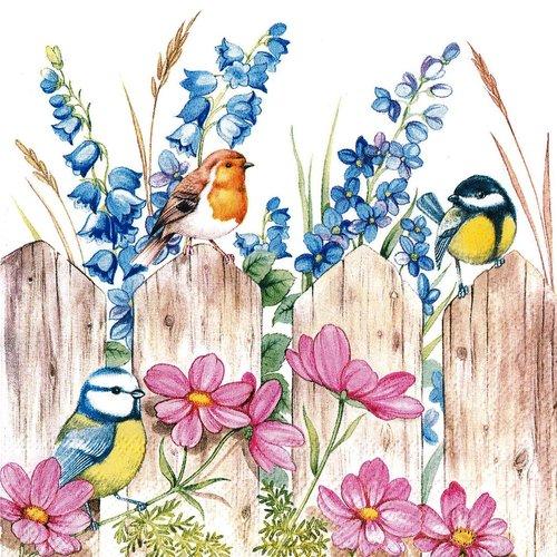 Serviette papier petits oiseaux sur la barrière