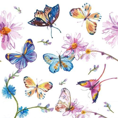 Serviette papier papillons multicolores virevoltant