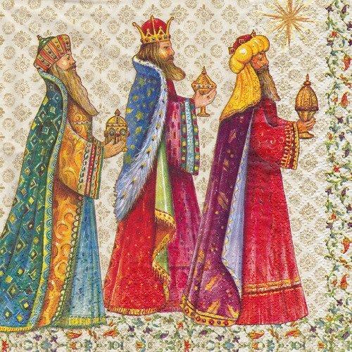 Serviette les rois mages déposant les cadeaux de l'enfant jésus