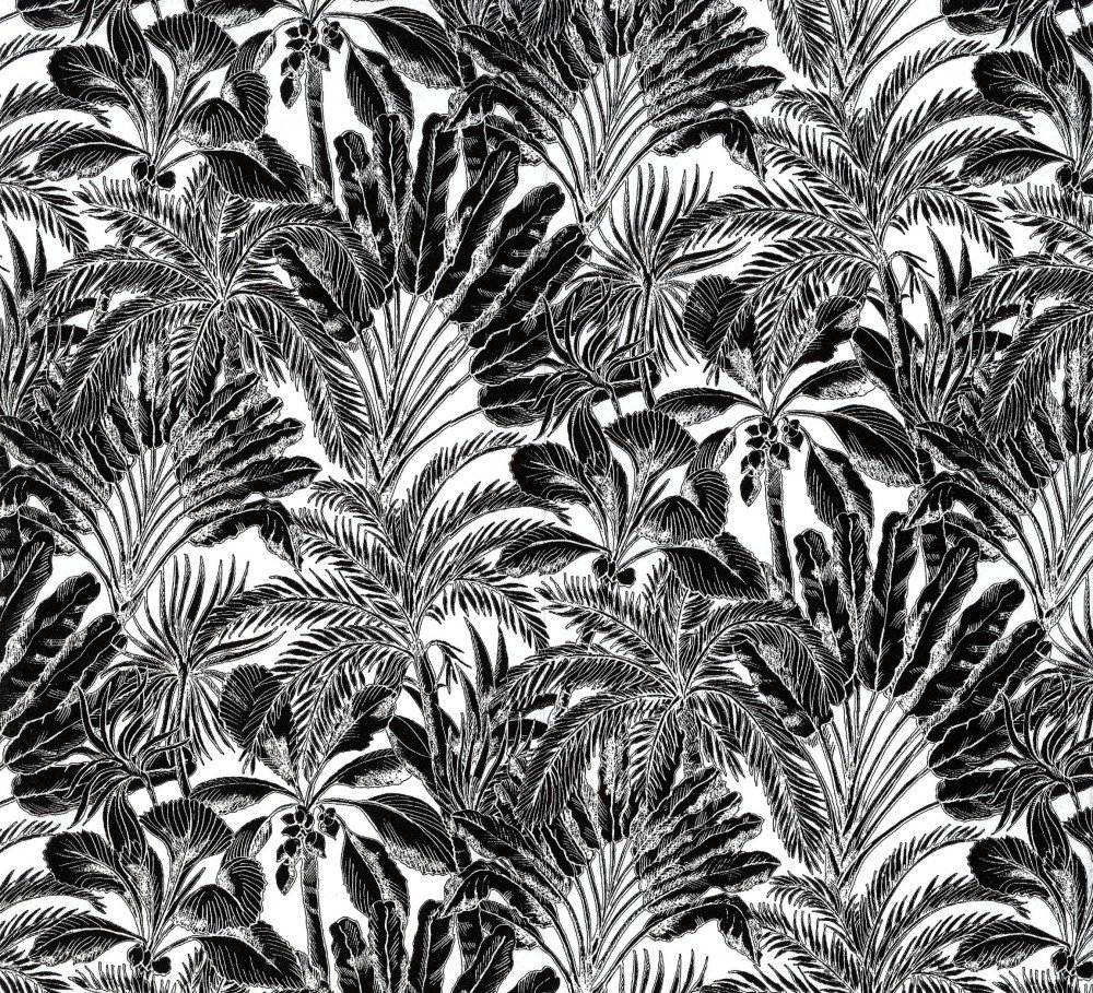 Serviette Arabesque Grande Feuille Palmier Noire et Blanche