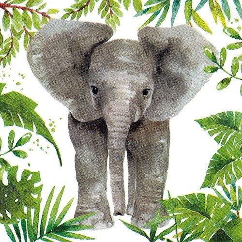 Serviette pastel elephant et plantes tropicales palmier