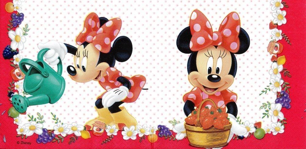 Serviette Papier Minnie au Jardin et les Fraises