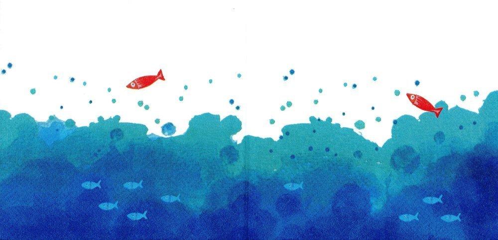 Serviette Papier Petit Poisson Rouge dans les Vagues