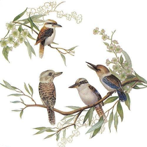 Serviette papier petit oiseau dans les arbres
