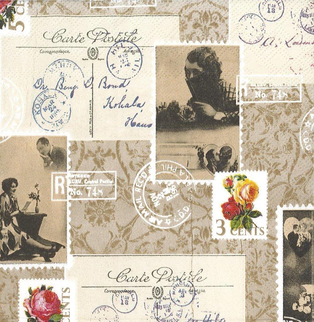 Serviette Carte Postale Photo de Femme Rétro Timbre Rose Séphia