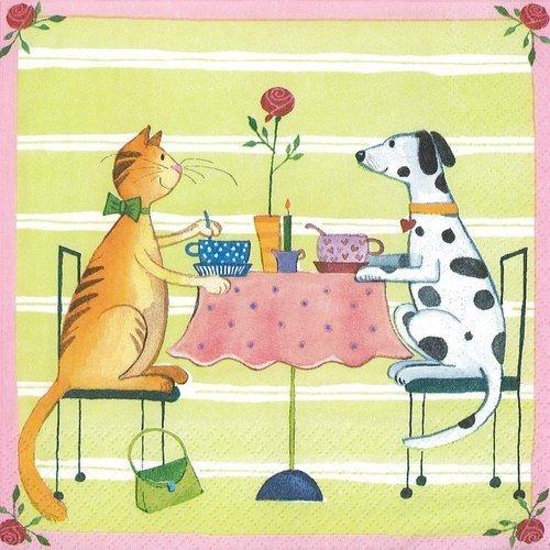 Serviette papier diner aux chandelles chat et chien