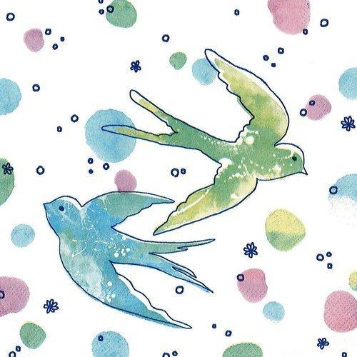Serviette papier oiseau hirondelle pastel vert et bleu