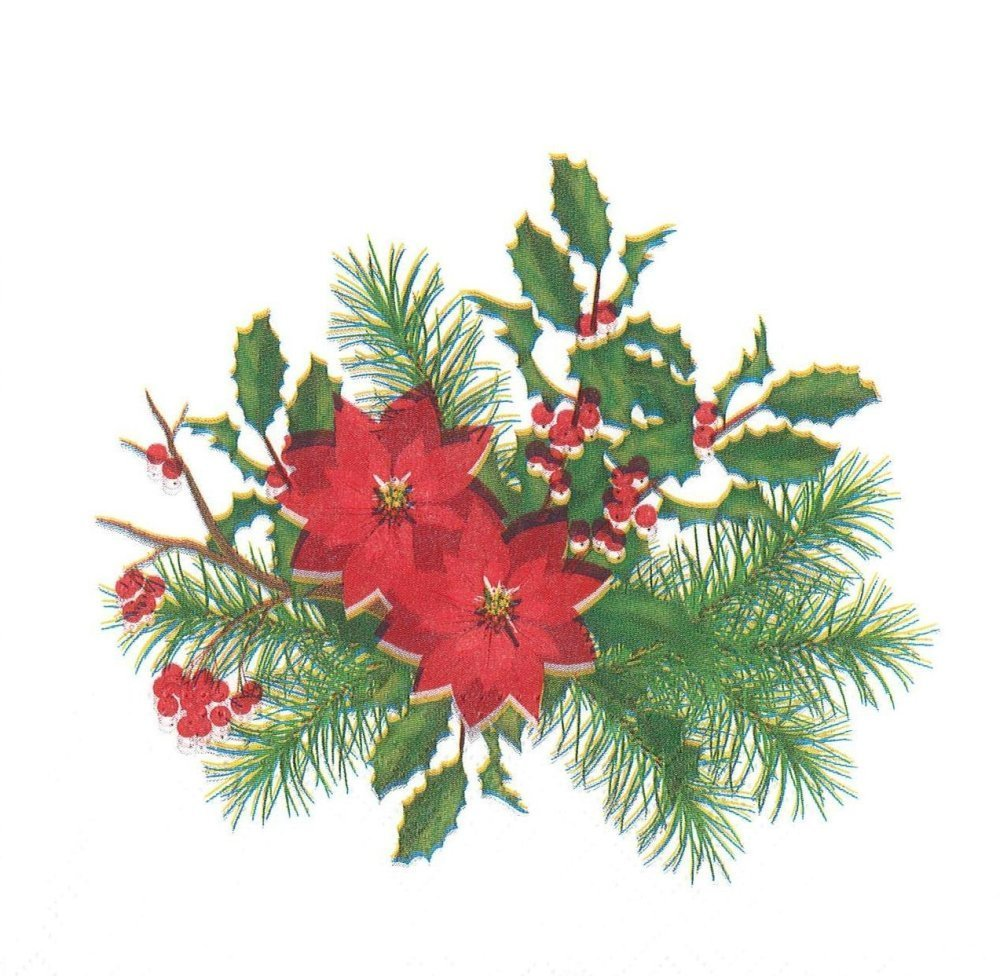 Bouquet De Noel Avec Du Houx serviette bouquet de noel poinsettia branche de sapin houx