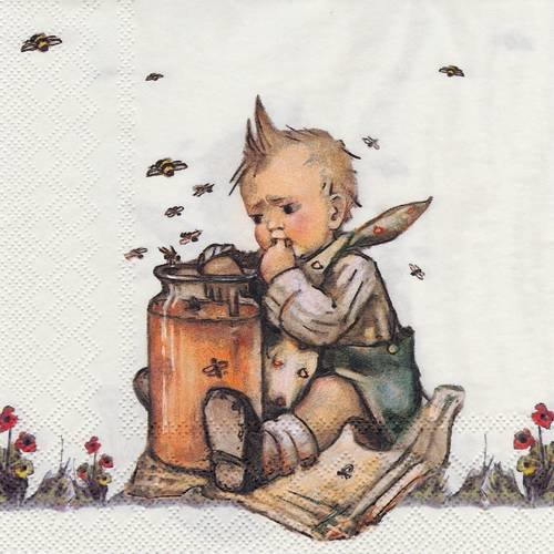 Serviette le petit garçon au pot de miel