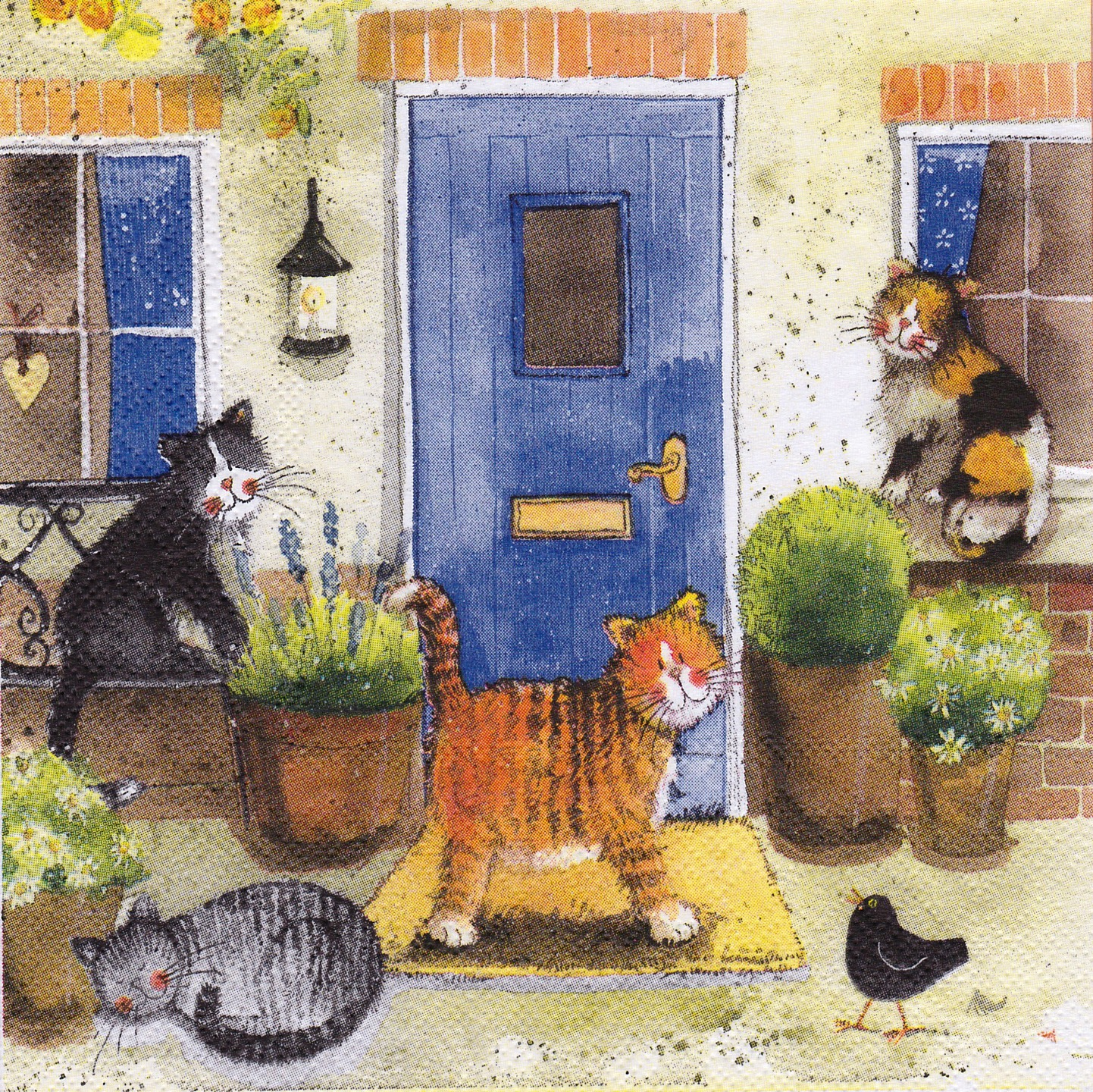 Serviette Les Chats devant la Maison AC