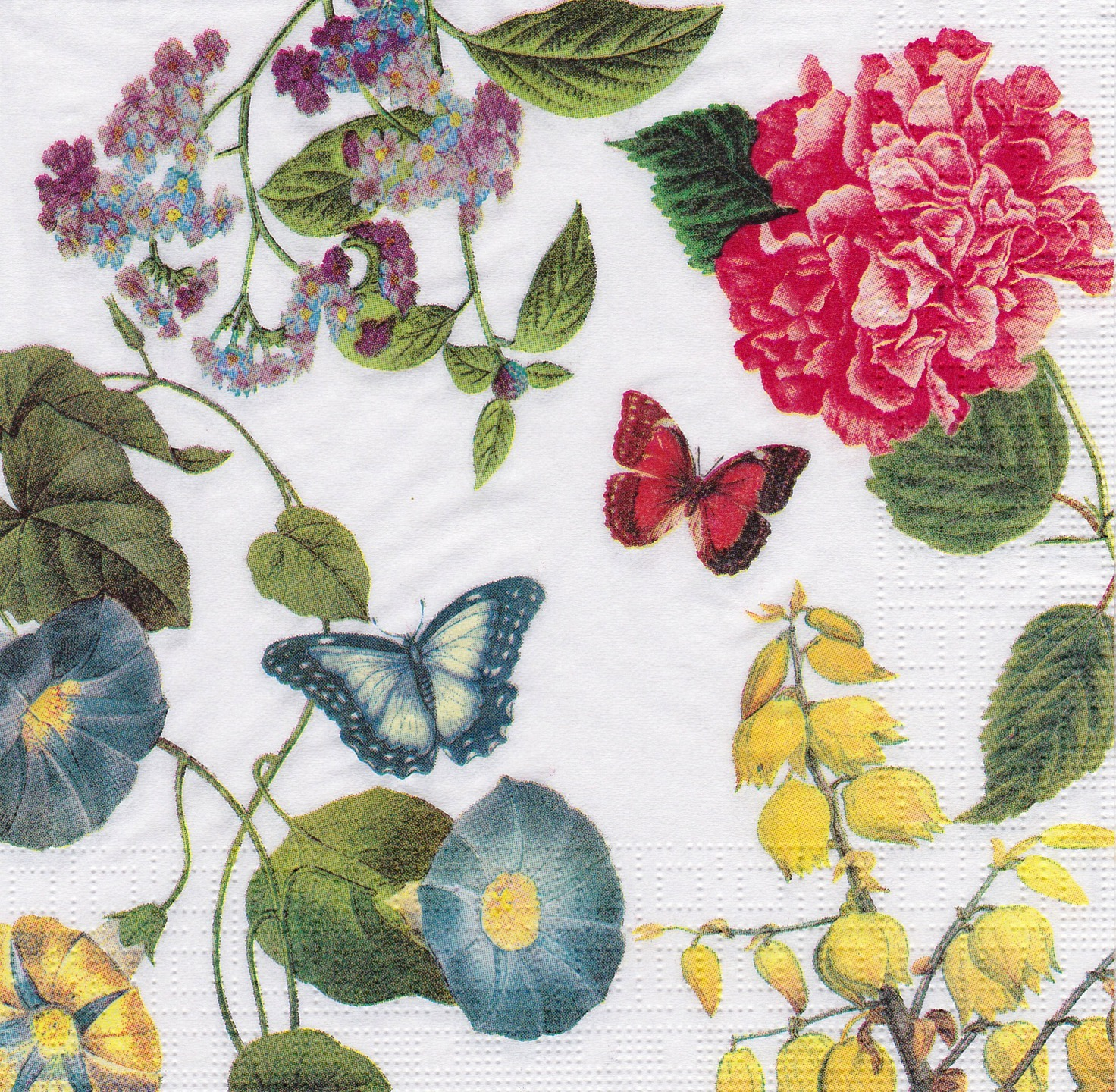 Serviette Fleurs Sauvages et Papillons Hortensia