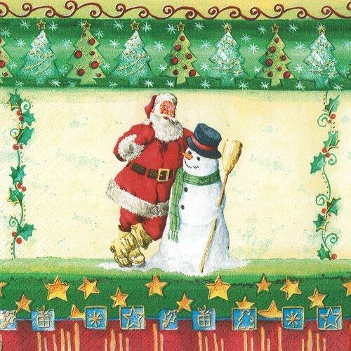 Serviette papier le père noël et le bonhomme de neige