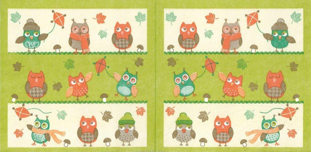 Serviette Papier Les Petites Chouettes en Automne
