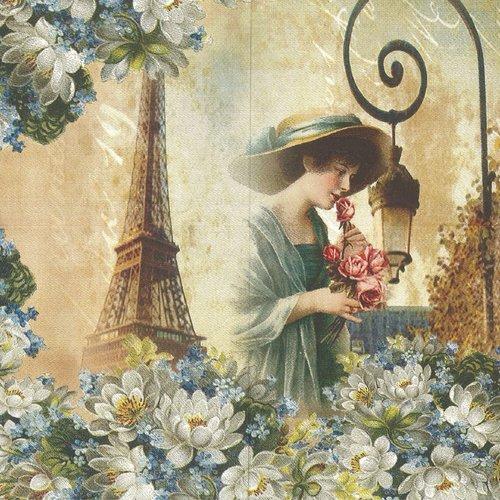 Serviette papier rare collection jeune femme aux roses paris tour eiffel