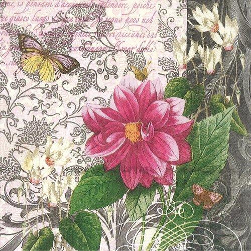 Serviette papier fleur et papillon fond baroque