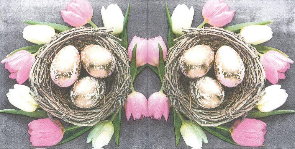 Serviette Papier Les Oeufs dans le Nid Couronne de Tulipes