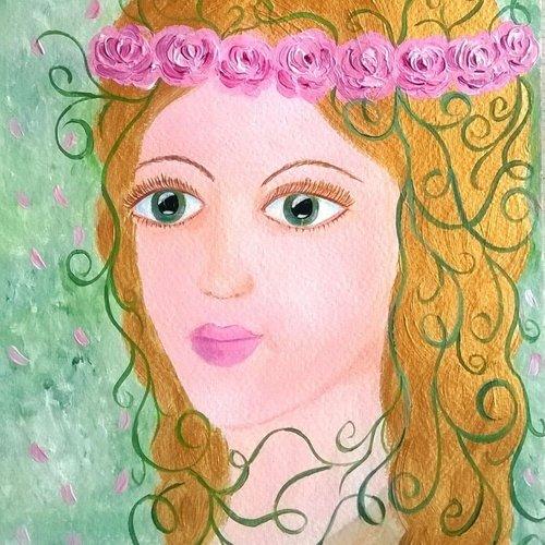 Aquarelle et la peinture acrylique «la fée des roses» sur papier grain fin