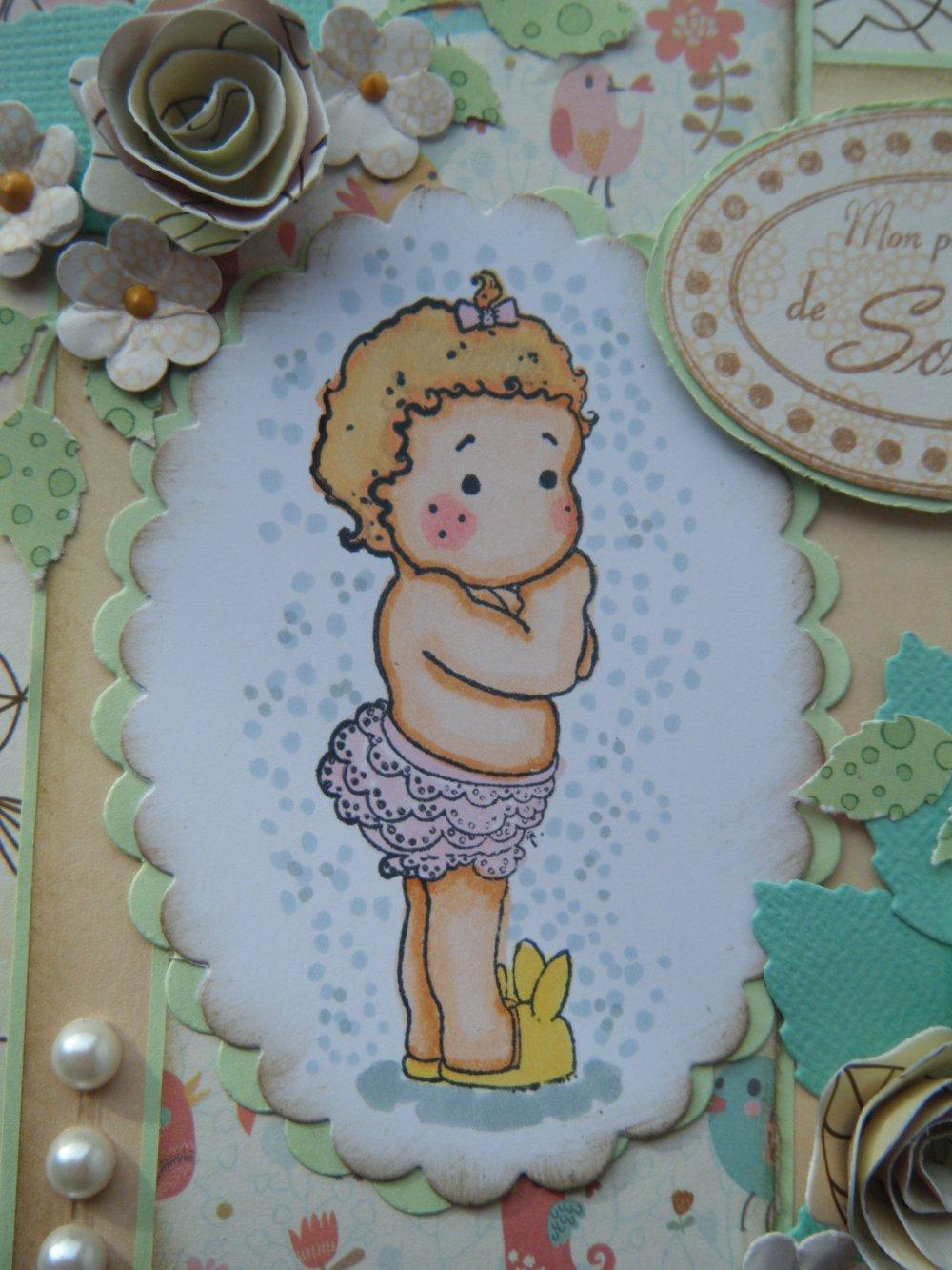 carte enfant : bébé en chausson lapinou !