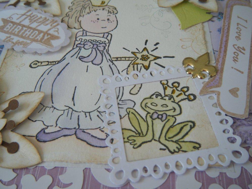 carte d'anniversaire fait main, fleurie avec un personnage