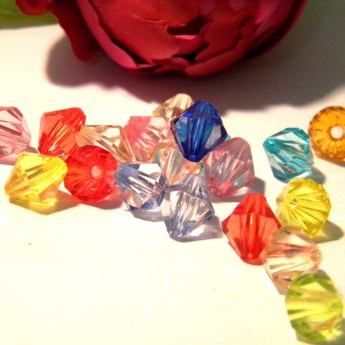 Bicone ** 50stk ** 10 mm ** Clair Acrylique Perles Plastique losanges Transparent