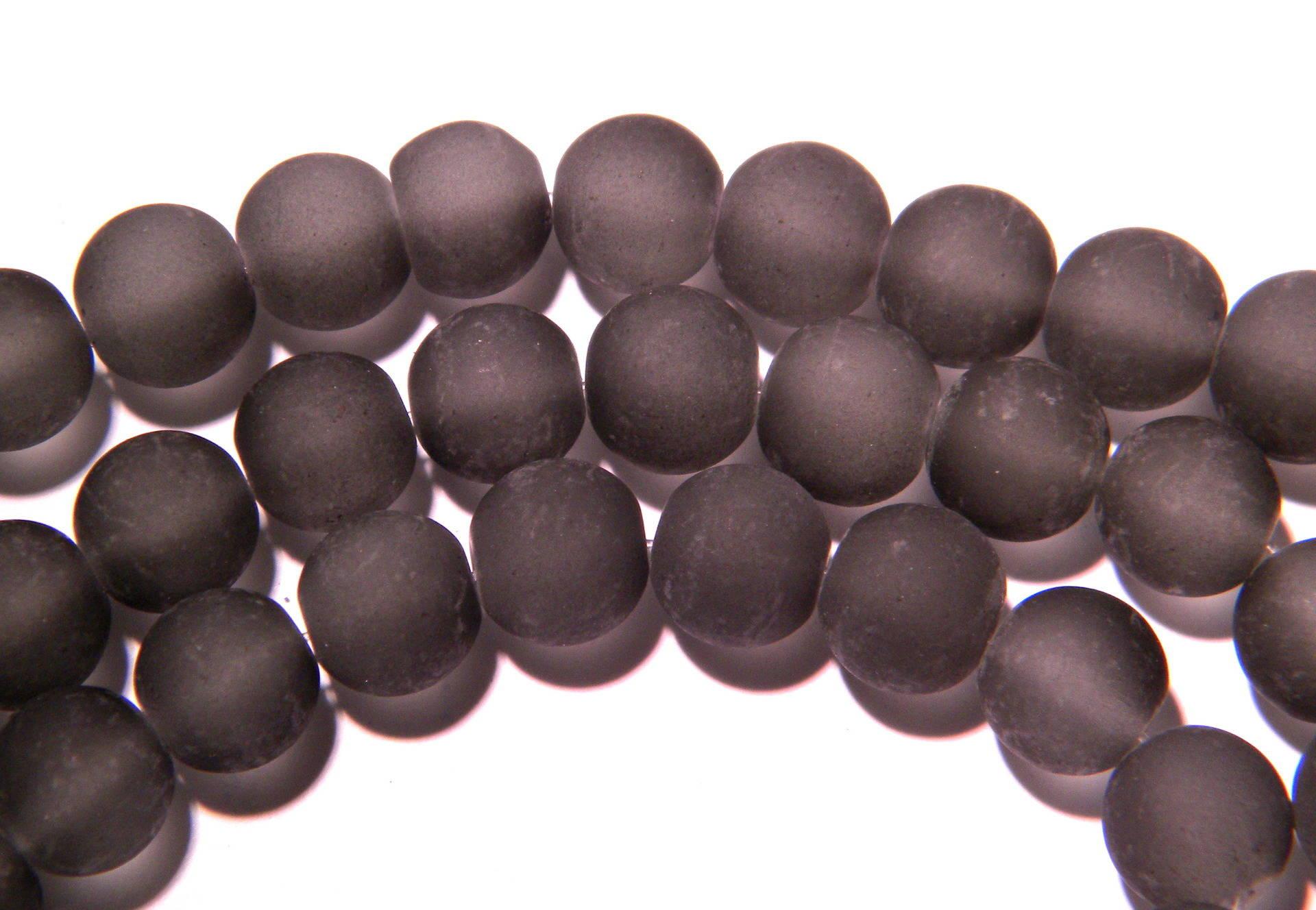 50 perles-effet givré- en verre dépoli 10 mm -gris- PG72