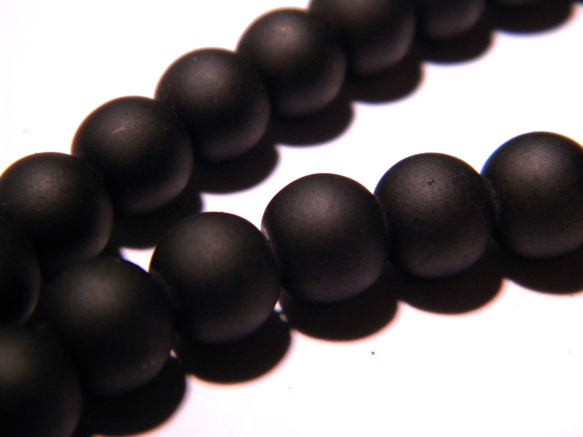 50 perles-effet givré- en verre dépoli 10 mm -noir profond- PG46
