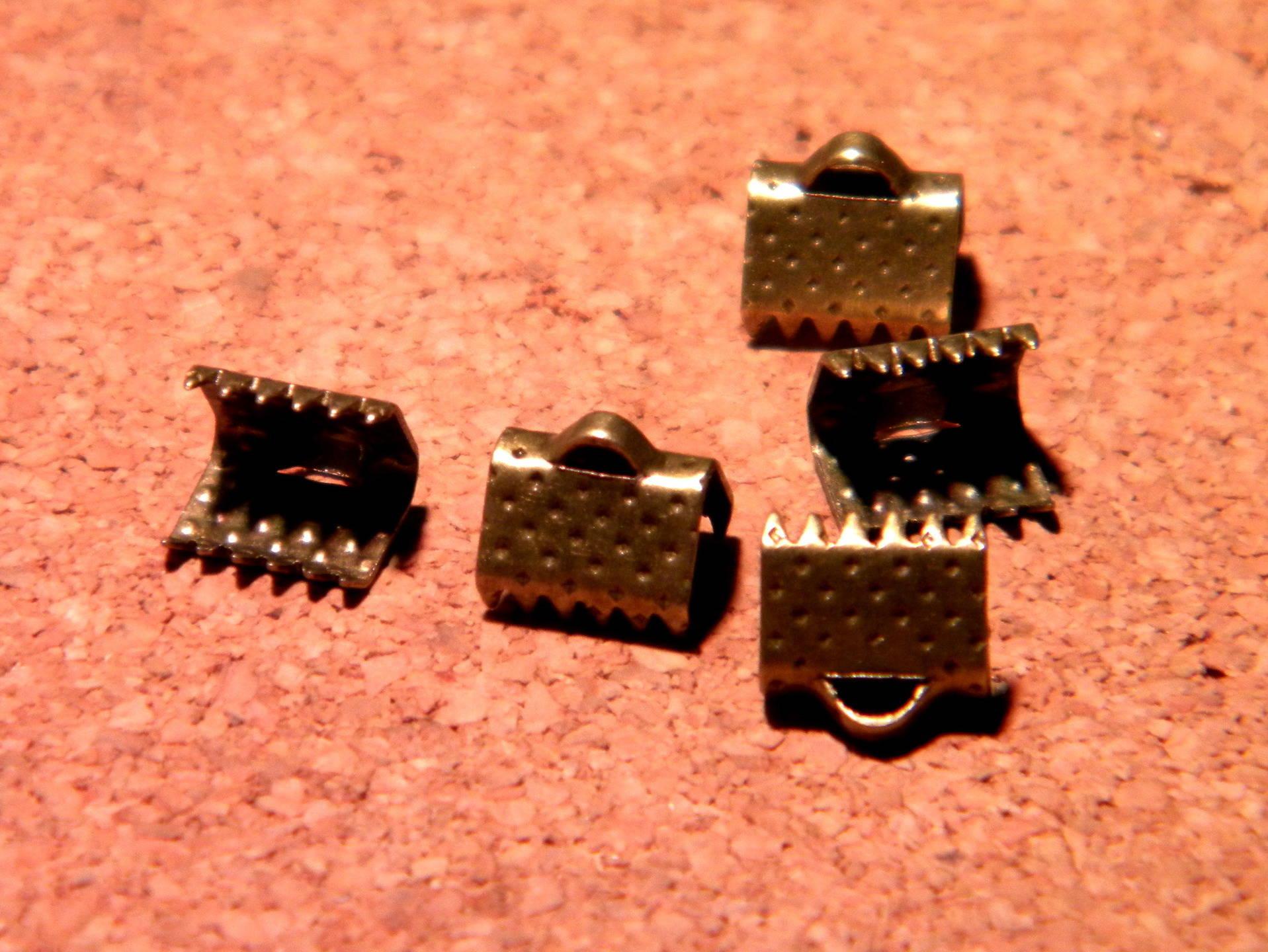100 fermoir embouts attache ruban à griffes en 8 mm-bronze- PF123