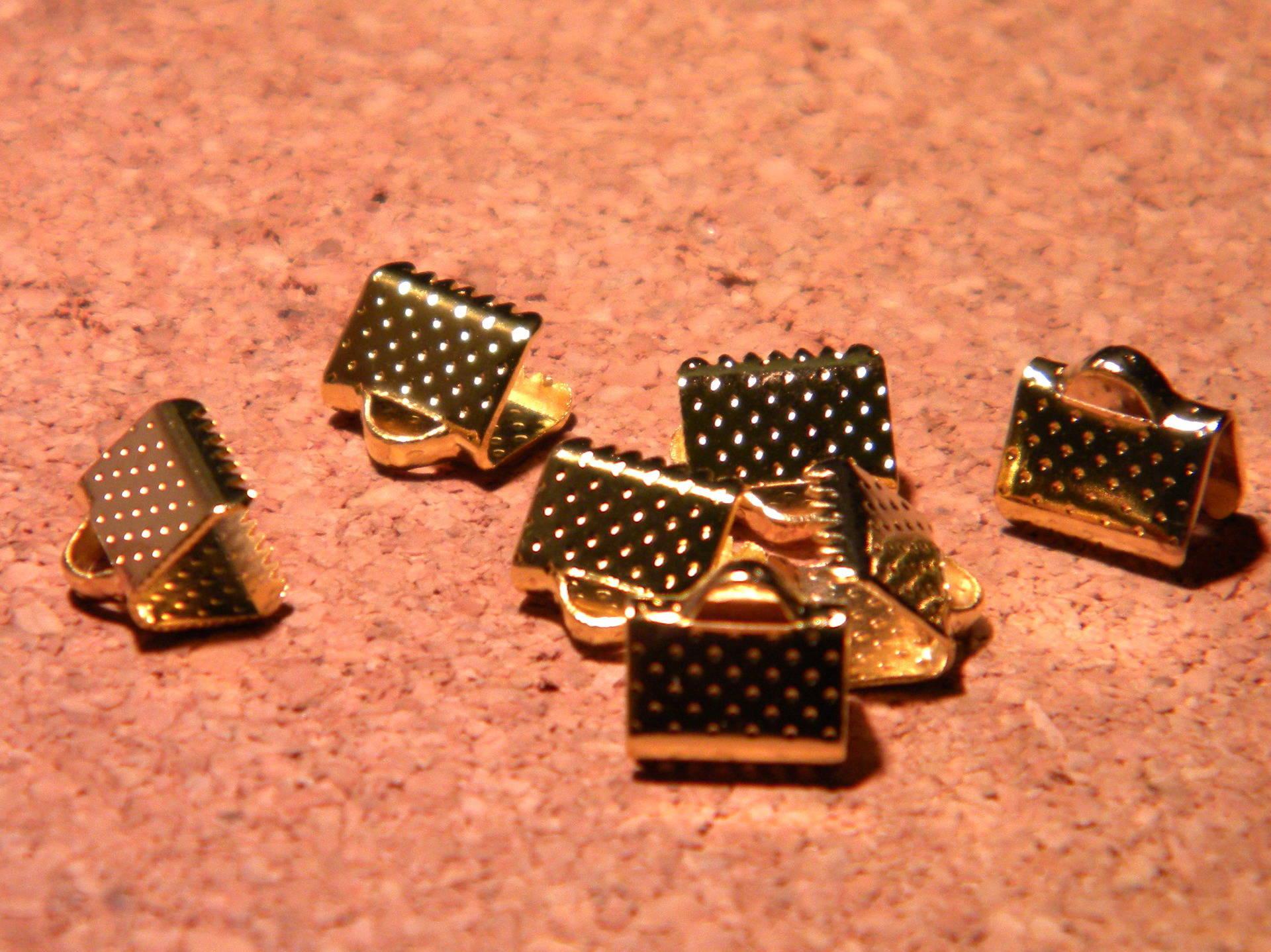100 fermoir embouts attache ruban à griffes en 8 mm-doré- PF122