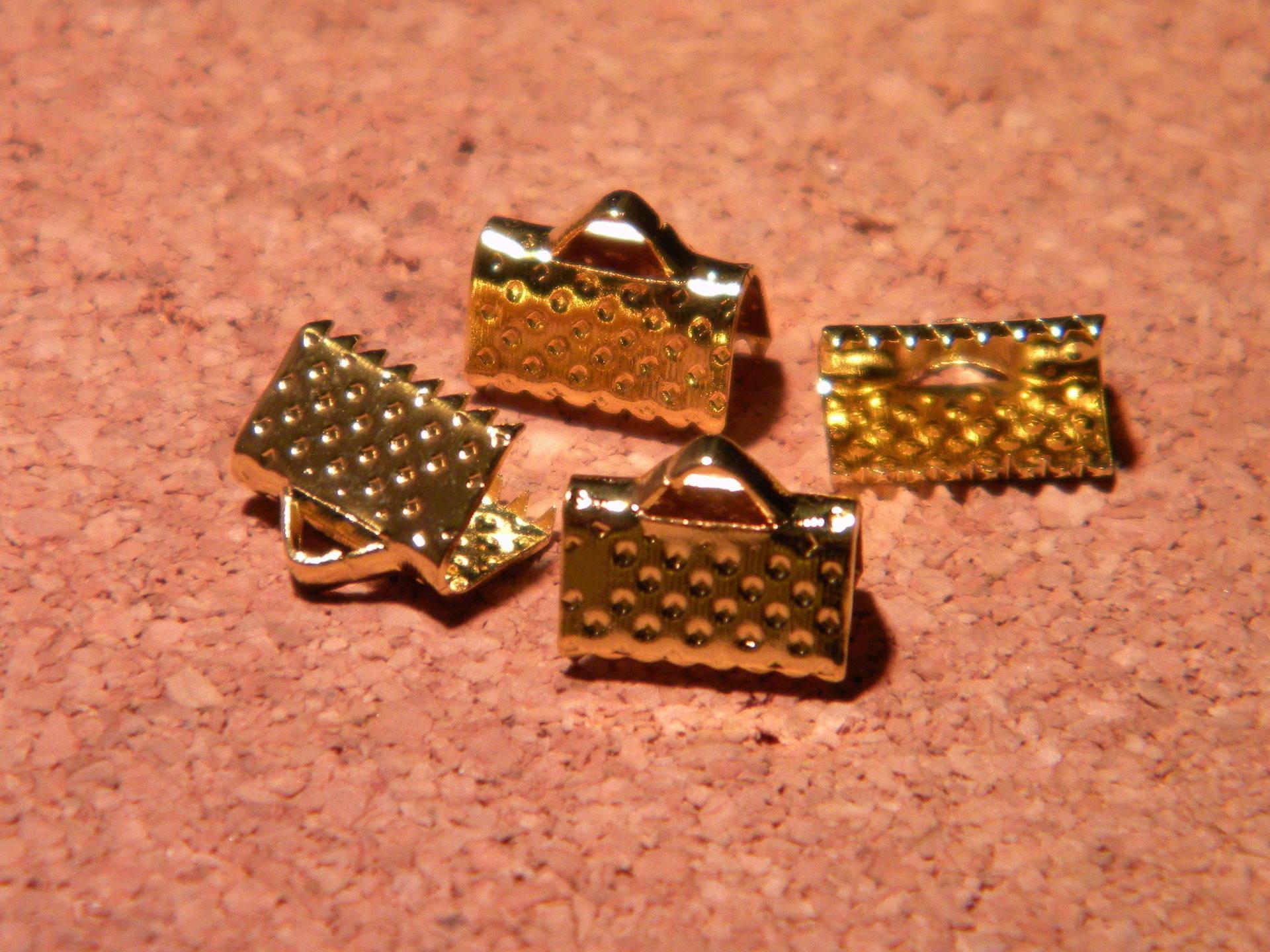 100 fermoir embouts attache ruban à griffes en 10 mm-doré- PF120