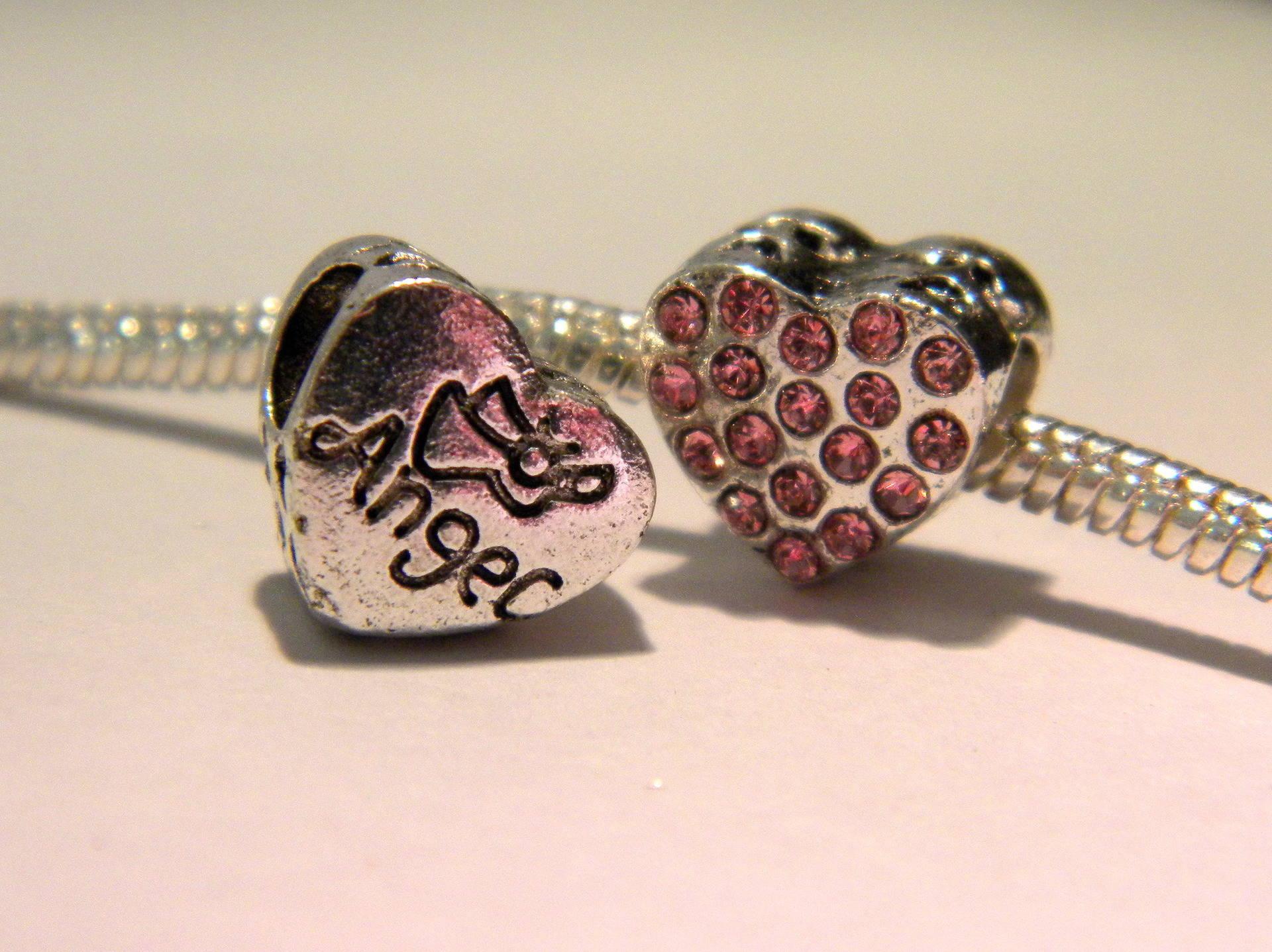 perle charms européenne- coeur- strass en verre-rose- 10.5  mm perle européenne D40
