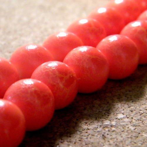 V8 9 *** 20 perles verre de Bohême 8 mm ORANGE dépoli