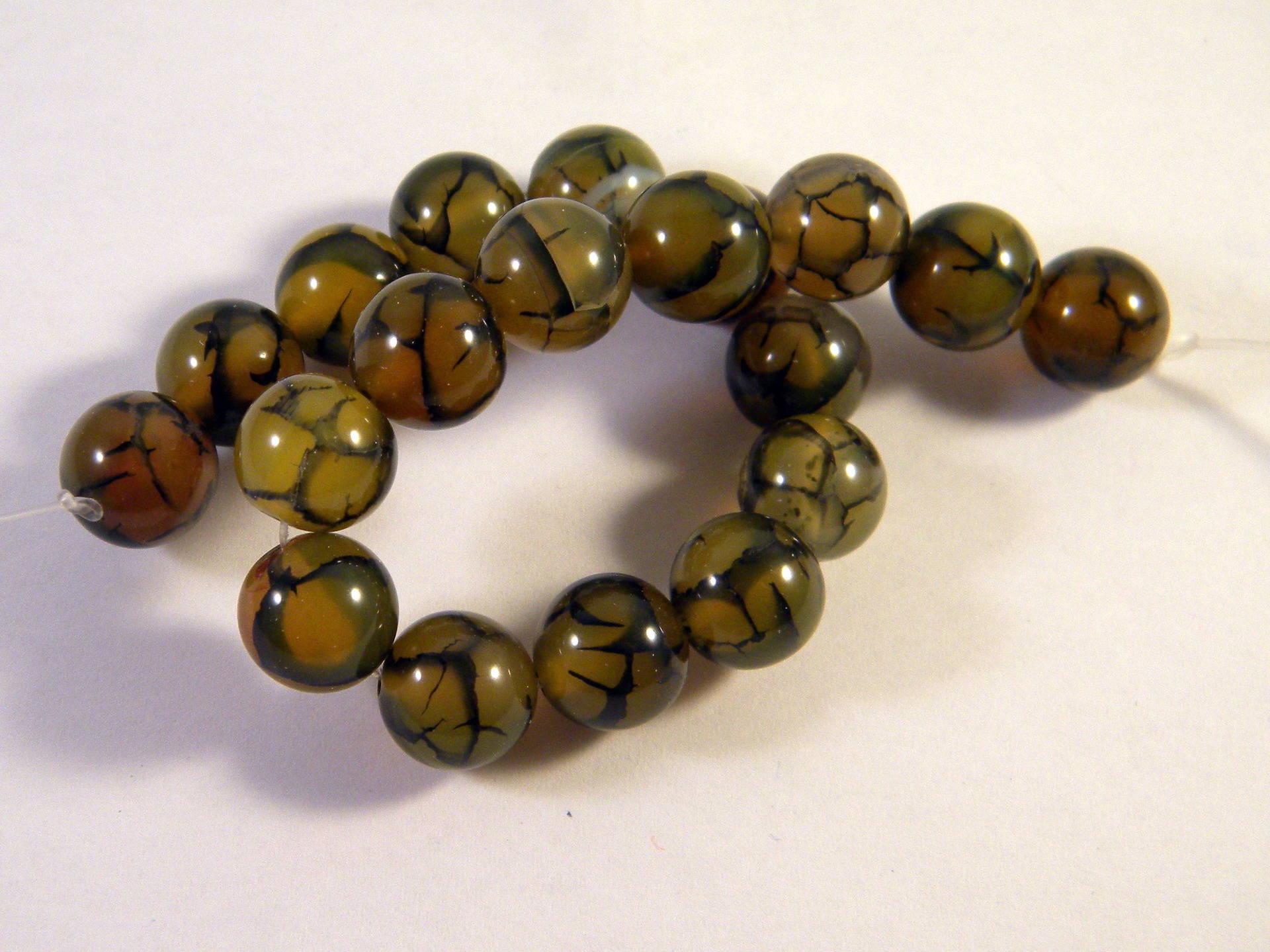 peinte a la main 10 mm olive 25 Perles métal