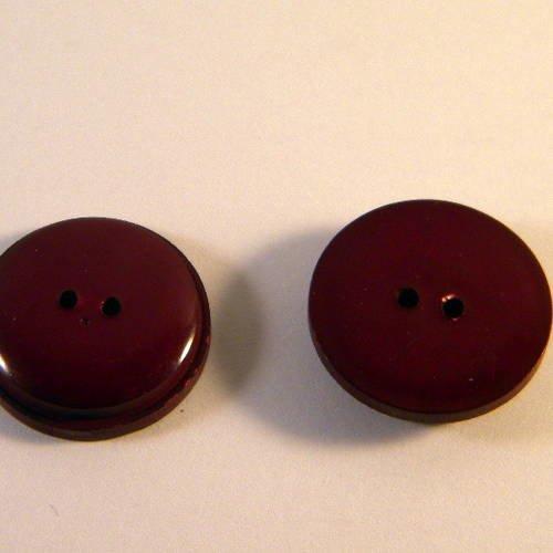 34mm 3 boutons en résine bordeaux 5641D vintage