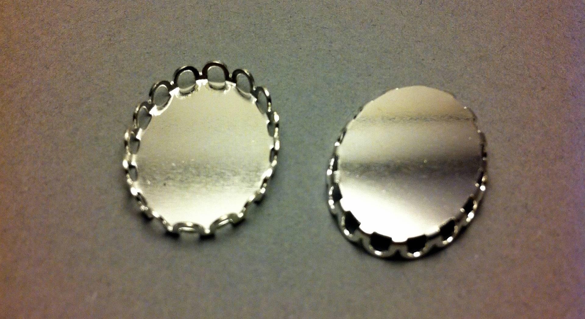 lot de 10 supports cabochon ovale argente avec frise 19x14mm
