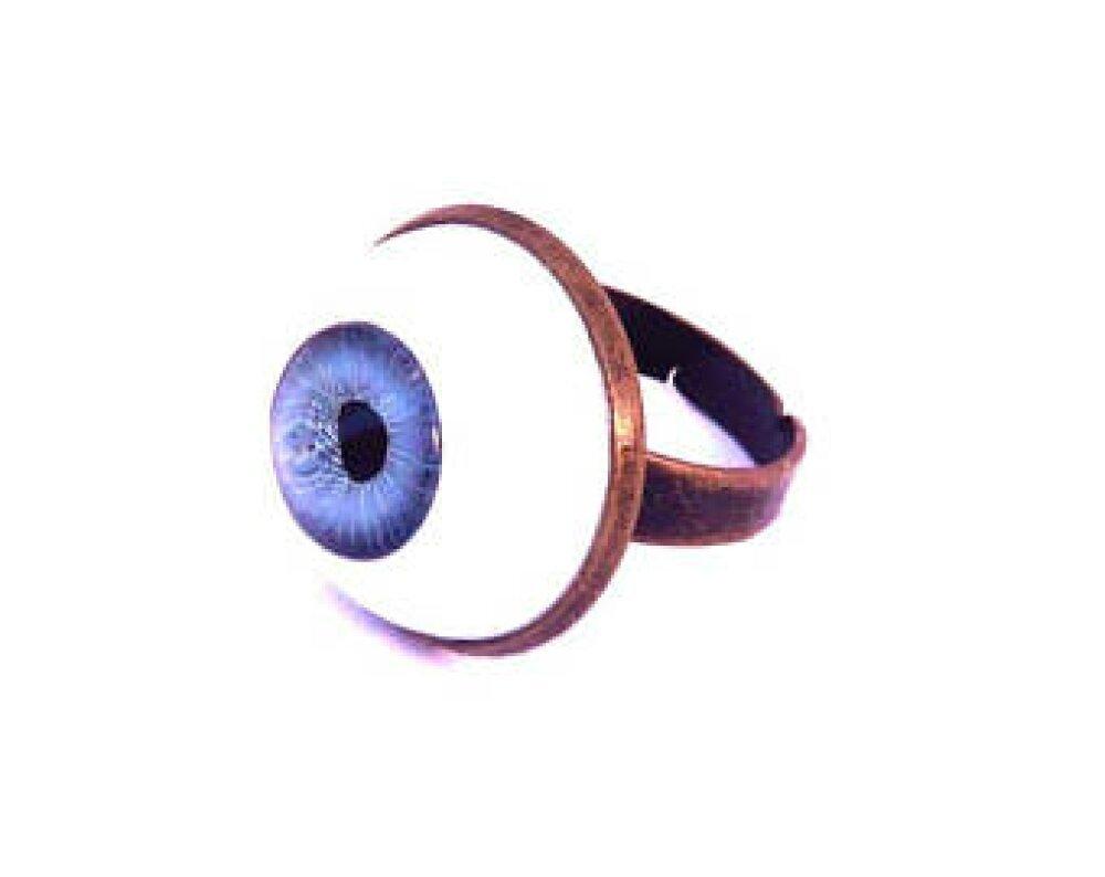 bague oeil yeux bleu cabochon globe poupée humain anatomie 18mm support laiton bronze