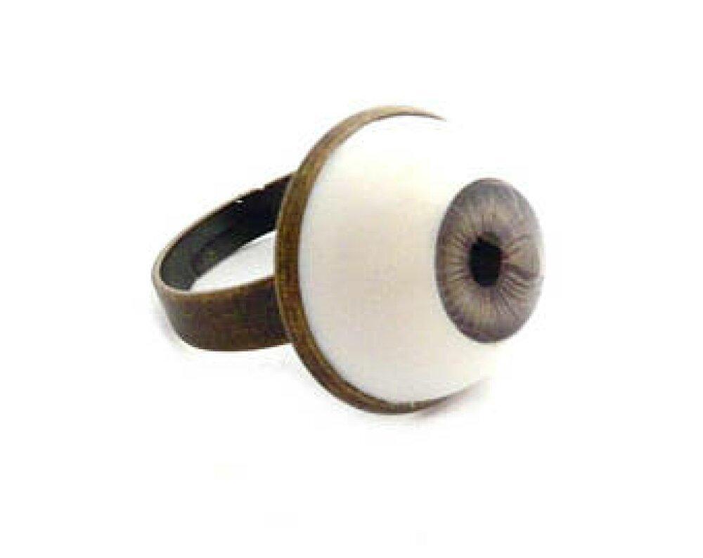 bague oeil yeux brun cabochon globe poupée humain anatomie 18mm support laiton bronze