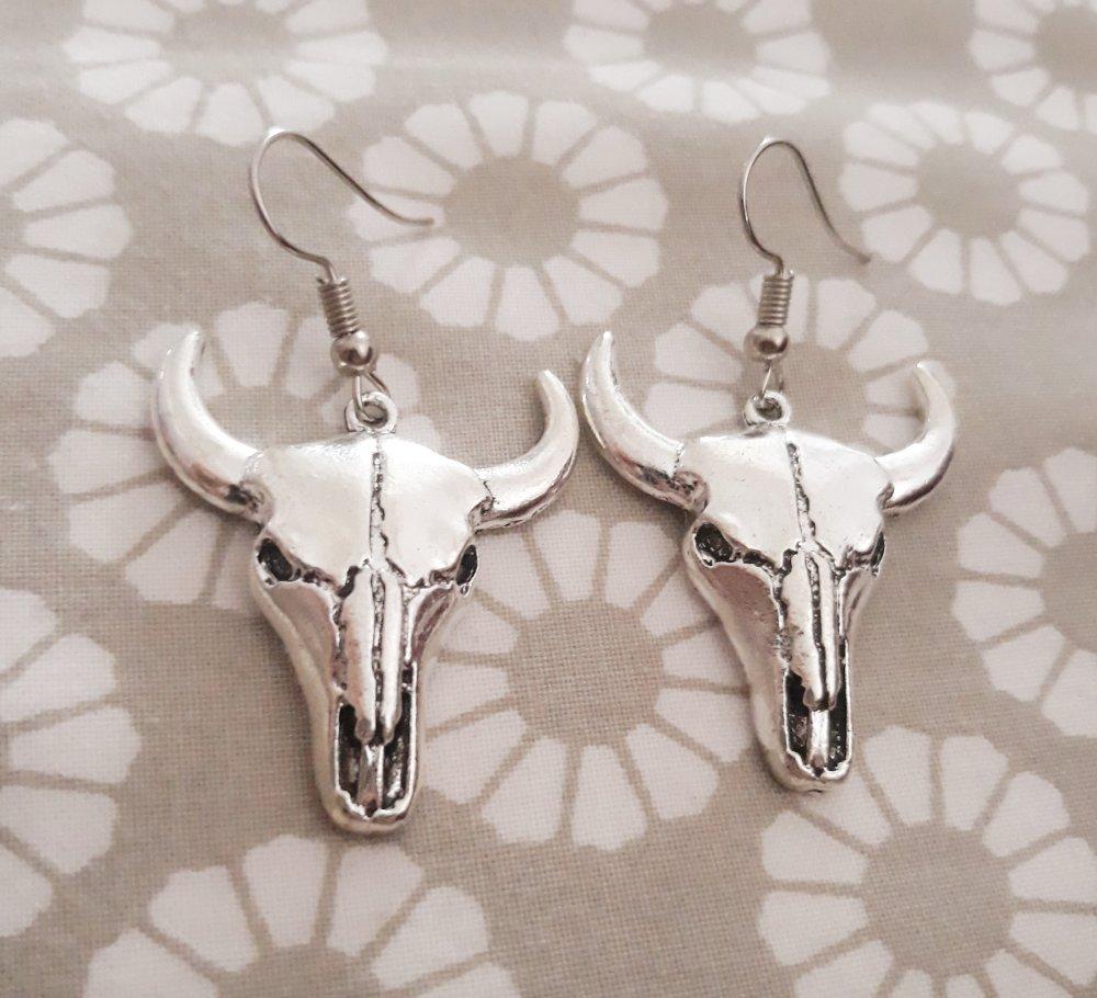 Boucle d'oreille  tete de taureau crane de buffle argent pendentif vache bison squelette original bohème ethnique corne boho