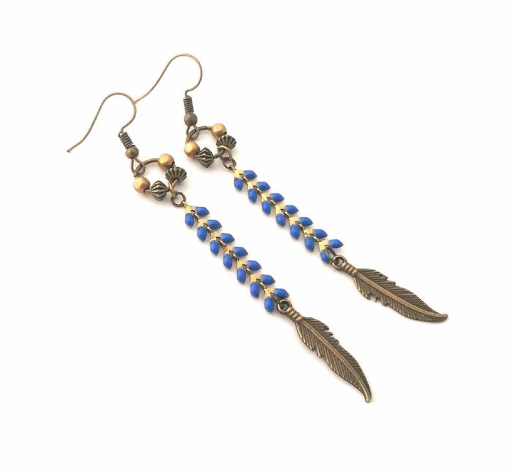 Boucle d oreille plume longue pendant bleu perle amérindien mode bijoux aztèque original bronze bohème géométrie ethnique email