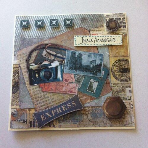 Carte Anniversaire Vintage Appareil Photo Express Un Grand Marche