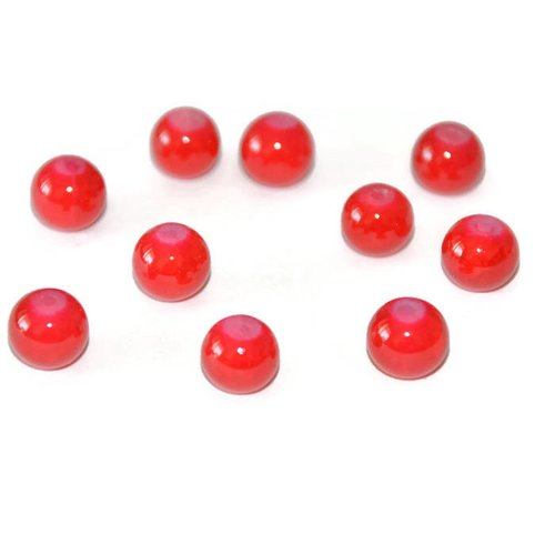 10 perles rouge imitation jade craquelé en verre 8mm