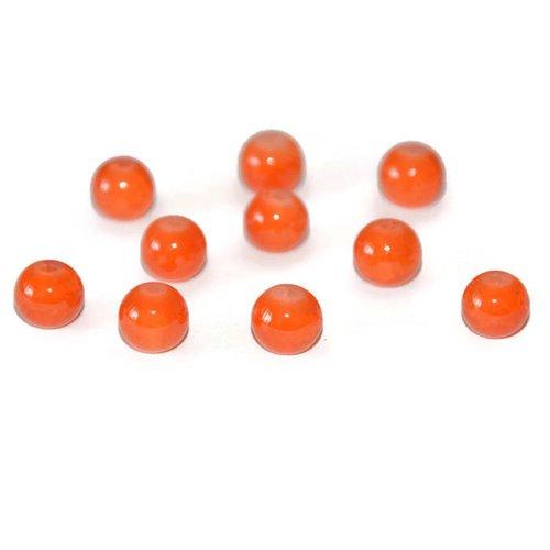 10 perles orange foncé imitation jade craquelé en verre 8mm