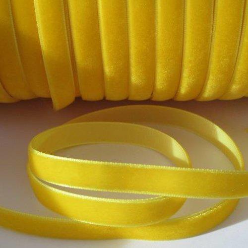 1m ruban velours jaune largeur 10 mm