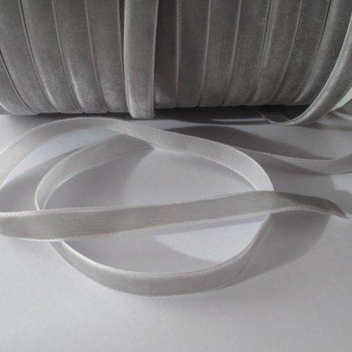 1m ruban velours gris largeur 10 mm
