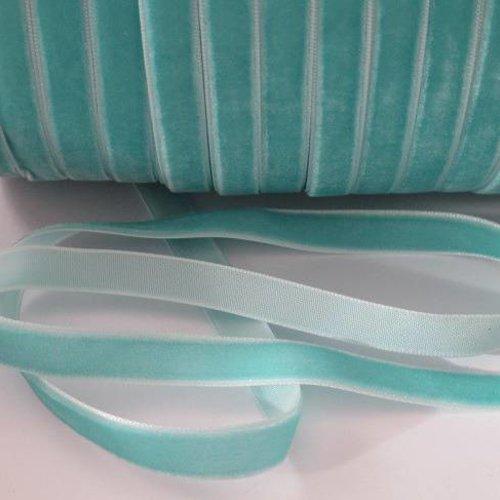 1m ruban velours bleu clair  largeur 10 mm